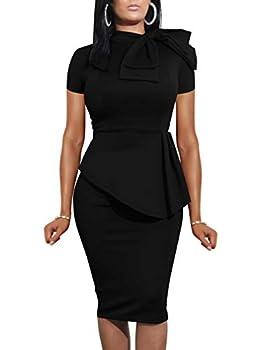 LAGSHIAN Women Fashion Peplum Bodycon Short Sleeve Bow Club Ruffle Pencil Office Party Dress Black  Size Large Color Black