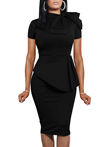 LAGSHIAN Women Fashion Peplum Bodycon Short Sleeve Bow Club Ruffle Pencil Office Party Dress Black