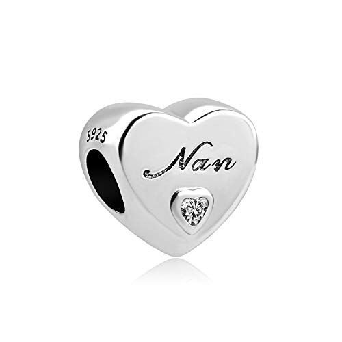 Styliee Jewelry Gift, New European 1Pc 925 Silver Heart I Love You Nan Mom Sister Dad DIY Bead Fit Charm Bracelet D044 A734