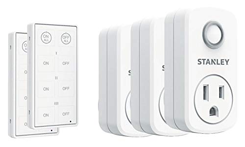 Stanley 37204 3-Pack Wireless Light Switch Remote System, 2 Transmitters, White