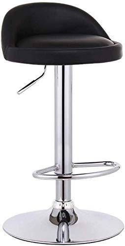Barkruk, eetkamerstoel, barkruk, stoel voetsteun met ronde zwarte PU-zitleuning, instelbare gasveer 60 ~ 80 cm voor ontbijtkrommen, cafeacute; barkruk 41 cm onderstel verchroomd max. Laad 150 kg op.
