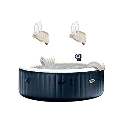 """Intex 75"""" Spa 6 Person Round Hot Tub w/ Cup Holder & Refreshment Tray (2 Pack)"""