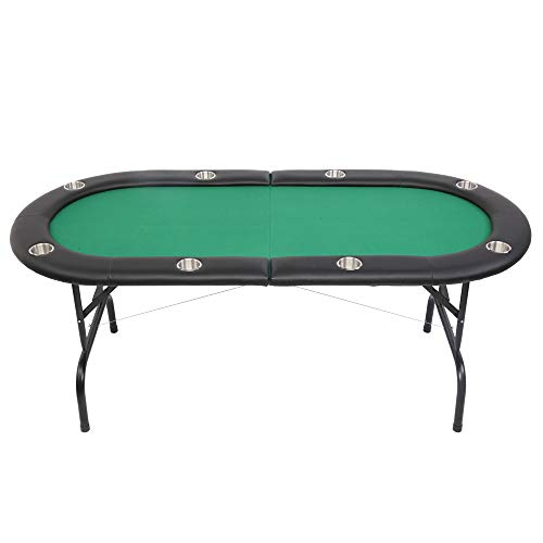 PEXMOR 8 Player Folding Play Poker Table w/Cup Holder, for Texas Casino Game Texas Leisure, Foldable Blackjack Table (Green)