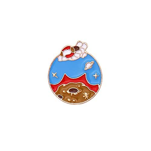 ROTOOY Broche de la Serie Space Planet de Verano, Bonita Insignia de Metal Japonesa, Mochila Escolar, Accesorios, Pin, Medalla de bebé para Hombre, Mujer
