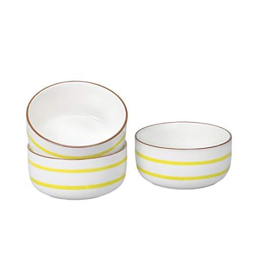 BonNoces 28 Oz Porcelain Bowl Set, Cereal Bowl with Unique Striped Decorative Line for Soup, Pasta, Oatmeal, Salad, and Rice, Set of 3 (Yellow)