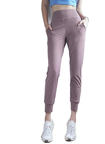 Speedwell Apparels Athletic Joggers Sweatpants for Women with Pockets Workout Tapered Leisure Stretch Travel Ankle Wide Banded Yoga Pants Women's Leggings (Medium, Lavender Grey)