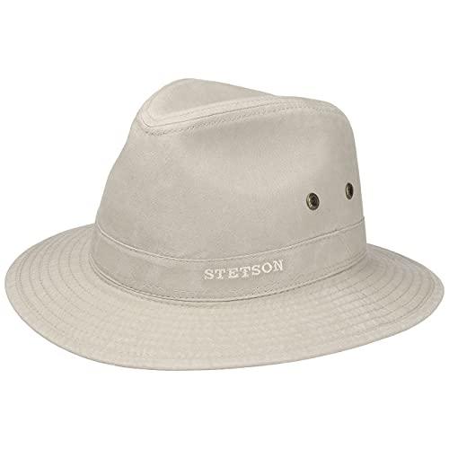 Stetson Sombrero Organic Cotton Traveller Hombre - de Tela Sol con Forro Primavera/Verano - XL (60-61 cm) Beige Claro