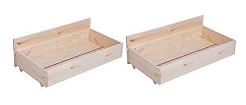 Homy Casa Set mit 2 Betten Schubladen Unterbett Schubladen 4 Rollen Kiefernholz - Beige