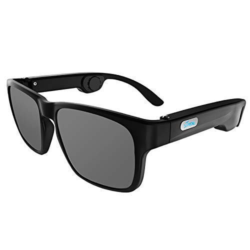 MERIGLARE Occhiali a Conduzione Ossea Occhiali da Sole Cuffie Bluetooth, libertà Wireless dai Cavi, Rivestimento per Lenti Polarizzate Max - Black Lens