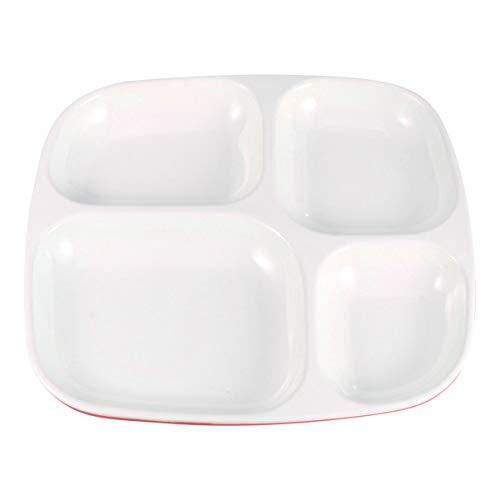 Hemoton Unterteilte Teller Porzellan 4 Fächer Keramik Unterteilung Abendessen Tablett Reistablett Geschirr für Zuhause Restaurant Abendessen grün 26x24x2.5cm rot / weiß