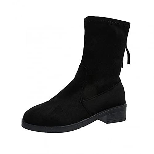 RTPR Zapatos para mujer, botines elásticos, botines con suela gruesa, estilo británico, botines de media caña para mujer, botines clásicos de punta redonda con tacón plano, Negro , 40 EU