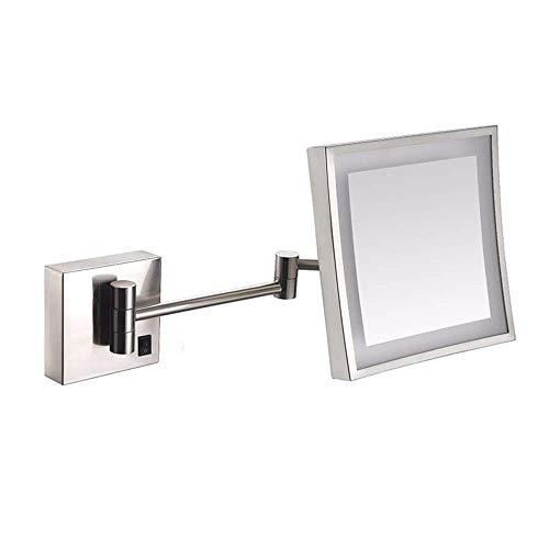 Carré LED miroir de maquillage 3X Magnfier 360 degrés rotation pliage unique côté mur monté miroir pour salle de bain hôtel, charge,1