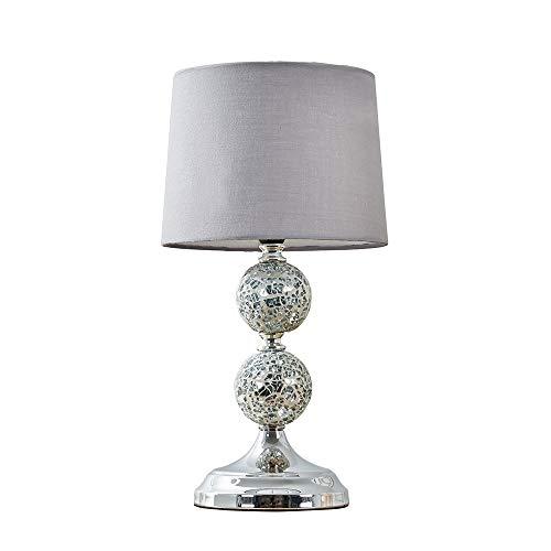 MiniSun - Lámpara de Mesa Elegante - Diseño de Esferas Enjoyadas con Base en Cromo - Pantalla de Tela Gris - Lámparas de mesita