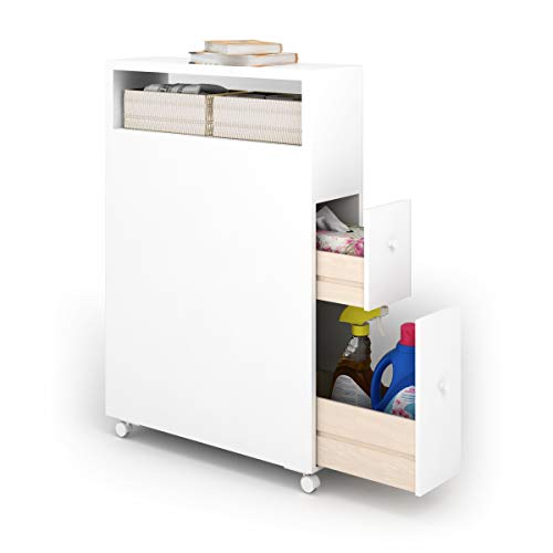 """Tangkula Slim Bathroom Storage Cabinet, Wooden Rolling Floor Cabinet, Free Standing Toilet Paper Holder, Bathroom Cabinet with Slide Out Drawer, Baskets and Wheels (20""""x6""""x28.5)"""