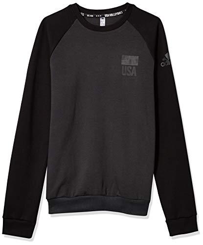 adidas Men's USA Volleyball Crew Neck Aeroready Carbon/Black Small