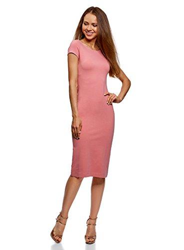 oodji Collection Damen Midi-Kleid mit Ausschnitt am Rücken, Rosa, DE 38 / EU 40 / M