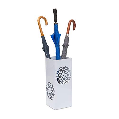Relaxdays Regenschirmständer eckig in HBT 47,5 x 20 x 20 cm Metall Schirmständer mit Wasserauffangschale für Regenschirm, Gehstock oder Nordic Walking Stöcke aus Stahl mit schöner Ornamentik, weiß