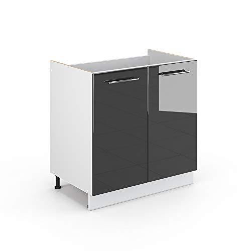 Vicco Küchenschrank Hängeschrank Unterschrank Küchenzeile Hochglanz Fame-Line (Anthrazit Hochglanz, Spülenunterschrank 80 cm)