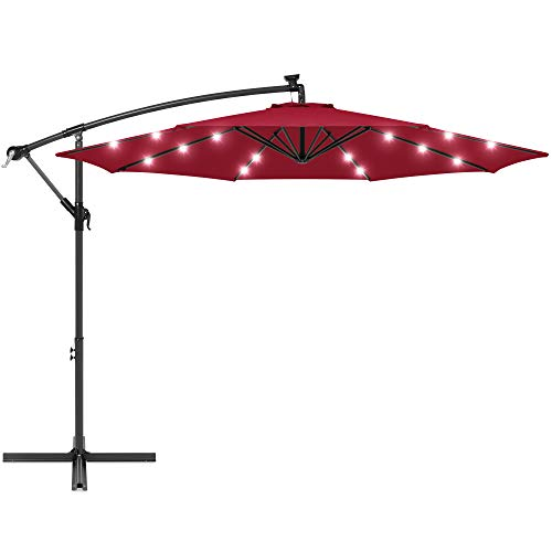 Best Choice Products 10ft Solar LED Offset Hanging Polyester Market Patio Umbrella w/Steel Frame and Easy Tilt Adjustment, Burgundy