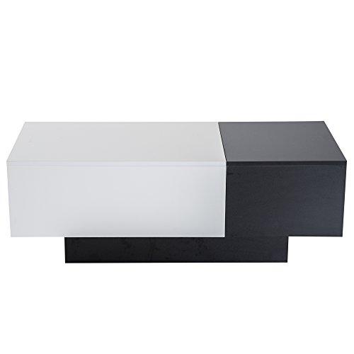 homcom Tavolino da Salotto Soggiorno Moderno Estendibile Spazio Portaoggetti 51 × 140 × 116-160cm Bianco Nero