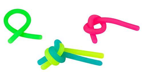 Trendhaus 404831 Powerschnur, Glow in The Dark, Anti-Stress, Trendartikel, 4 Stück, grün, blau, pink, gelb