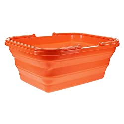 An orange collapsible camping sink.