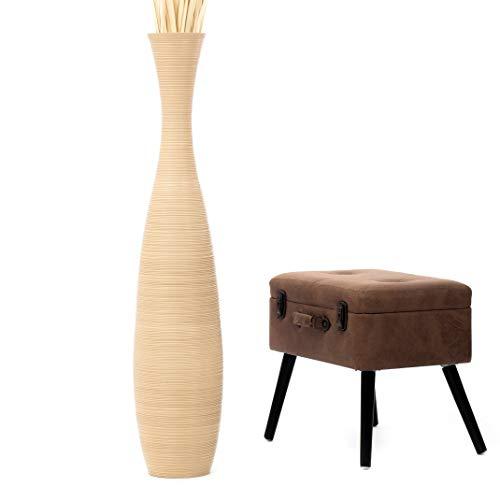 Leewadee Grande Vaso da Terra per Rami Decorativi Vaso Alto da Interno 112 cm, Legno di Mango, Crema