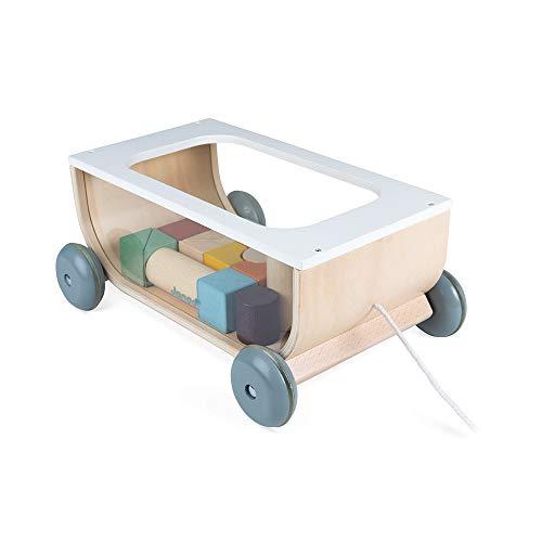 Janod Carrito de cubos de madera - Colección Sweet Cocoon - Juguete de estímulo para bebés pintado al agua - Juguete de arrastre - Aprender a andar - A partir de 18meses