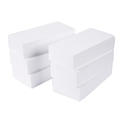 Foam Rectangle Blocks for Crafts (8 x 4 x 2 in, 6 Pack)