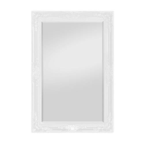 Rococo by Casa Chic - Grand Miroir Rectangulaire - Style Baroque Shabby Chic - 90x60 cm - Blanc Mat