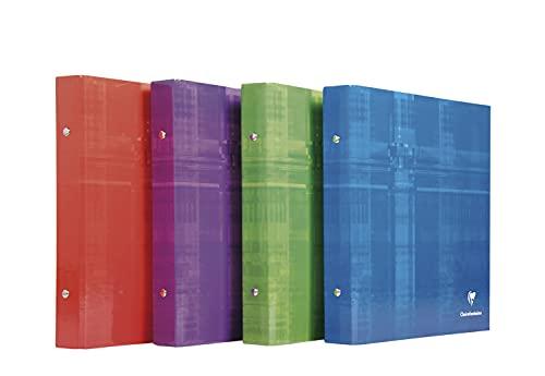 Clairefontaine 67314C - Un classeur à 2 anneaux de 3 cm 17x22 cm, couverture carte pelliculée couleur aléatoire