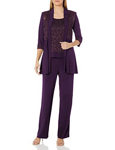 R&M Richards Women's Lace Pant Set, Plum, 10