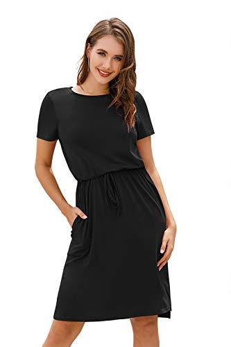 Yidarton Damen Sommer Kleid Kurzarm Blumendruck Patchwork Casual Plissee Midikleid mit Taschen, Schwarz4, S
