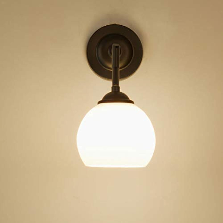 E27 Wand Lampe Einfache Schmiedeeiserne Glasdeckel Gang Korridor Einzel Kopf Nach Unten Nachttischlampe (Geben LED-Licht),Warm,5W