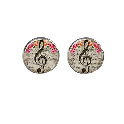 Orecchini a perno con note musicali, orecchini a forma di chiave di violetto, orecchini a cupola in vetro, da donna