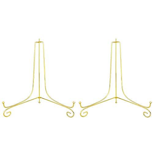 ゴールド プレートスタンド アイアン 皿立 写真立て 本立て 12号 (2 個セット)