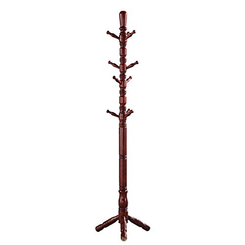 Strong Solid Wood Coat Rack,Simple Coat Rack Take 10 Hooks Triangular Base,Suitable For Family Office Hall Entrance-Brown 17.7x72.8inch