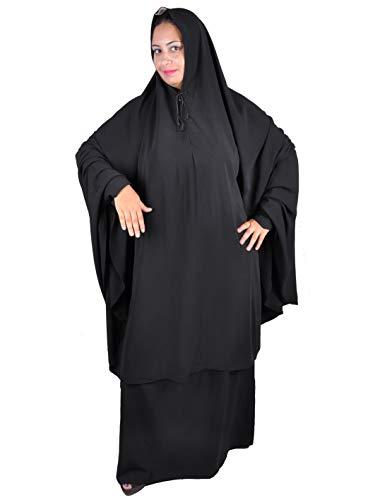 Zweiteiliges Khimar Rock Set (Tscharschaf Set) Sunna Islamische Kleidung Gebetskleidung Einheitsgröße, schwarz