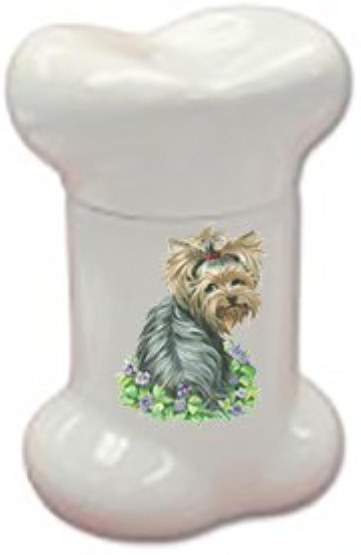 Best of Breed Yorkie with Flowers Doggie Bone Treat Jar