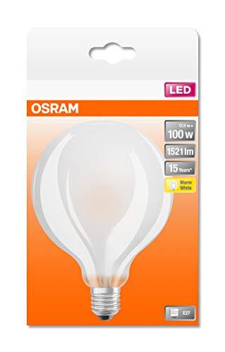 Osram ST Globe, Lampada LED E27, 12 W, Luce Calda, 1 Lampa a sfera, In vetro