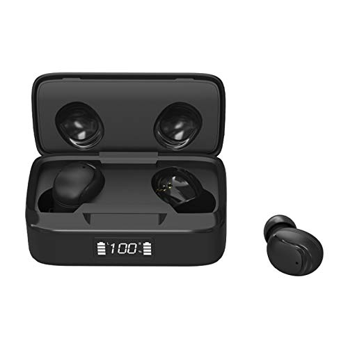 SUN JUNWEI Auriculares Bluetooth 5.0 Auriculares internos Auriculares inalámbricos con cancelación de Ruido Auriculares Impermeables con micrófono y Control táctil para Deportes y Trabajo,Negro