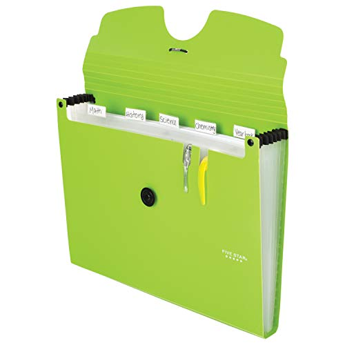 Five Star 6-Pocket Expanding File Organizer, Plastic Expandable Letter Size File Folders with Pockets, Home Office Supplies, Portable Paper Organizer for Receipts, Bills, Documents, Lime (72925) Photo #2