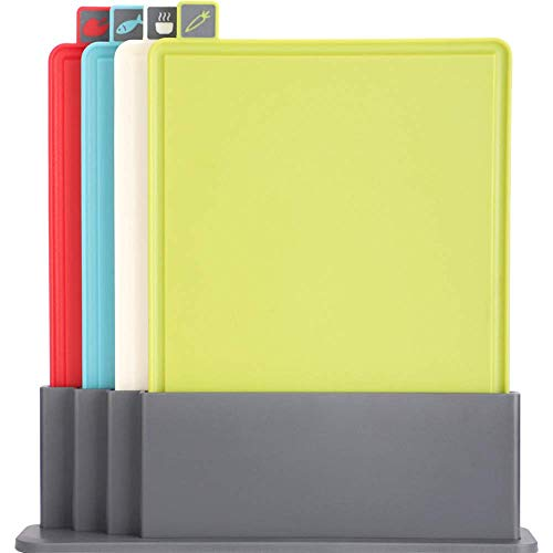 Veiligheid Premium Coded snijplank Set - Index snijplank Set van vier plastic map Style snijplanken met Storage Case gift dsnmm