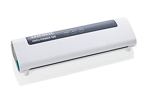 Leifheit Vakuumiergerät Vacu Power 100, Vakuumierer zum Konservieren, Lebensmittel bleiben 5x länger frisch, ideal zum Sous-Vide-Garen, Folienschweißgerät inkl. 10 Vakuumierbeuteln 20x30cm