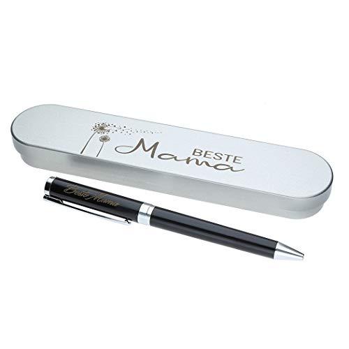 """Kugelschreiber mit Gravur""""Beste Mama"""" in Geschenk-Schachtel mit Metall Geschenkbox die Geschenkidee Stift graviert"""