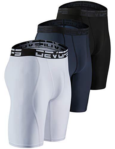 DEVOPS Men's Compression Shorts Underwear (3 Pack) (Medium, Black/Charcoal/White)