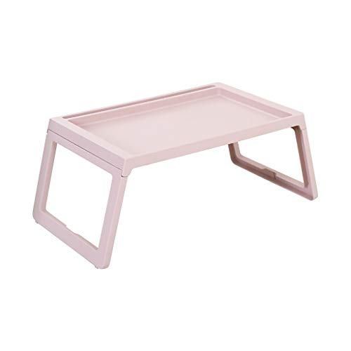 Laptop Table for Bed, Foldable Bed Desk, Breakfast Serving Bed Tray Portable Mini Picnic Desk Storage Space Laptop Desk Notebook Stand Reading Holder with Tablet Slots & Cable Hole (Pink)