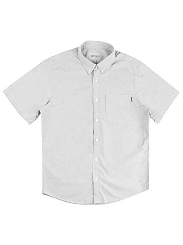 Carhart WIP Button Down Pocket Short Sleeve Shirt Shiver Chemise Homme Manches Courtes, gris, L