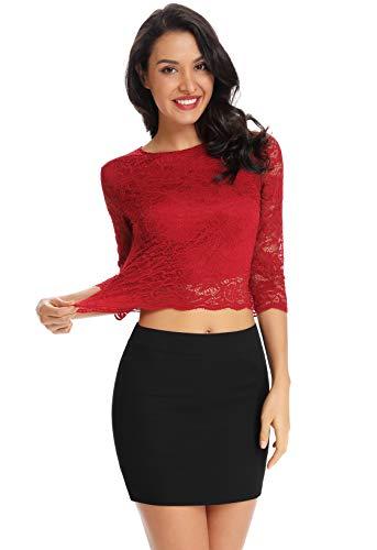 KalyChic blusa de encaje festoneado con mangas 3/4, cuello redondo, para mujer -  Rojo -  Medium