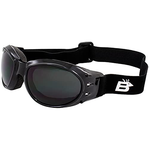 Birdz águila acolchado para moto Airsoft Gafas Marcos negro brillante con humo espejo de conducción antiniebla lente